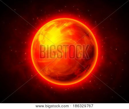 Red burning planet on dark cosmic vector background
