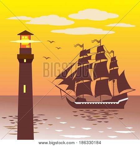 lighthouse silhouette against the sky and the sea. Vector illustration