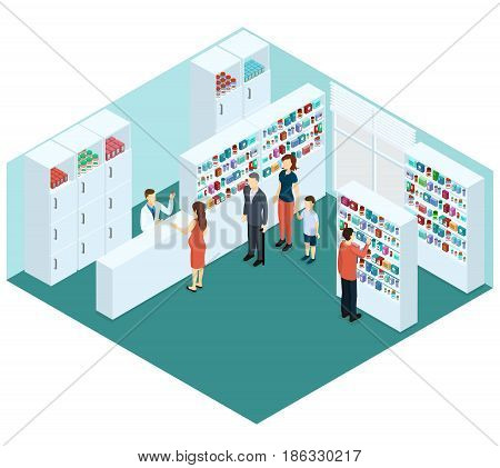 Colorful isometric pharmacy concept with pharmacist and clients choosing and bying different drugs pills medicaments vector illustration