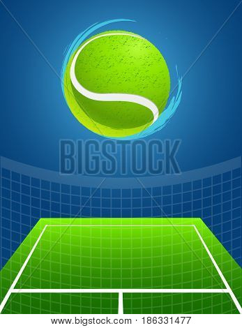 blue tennis background with big ball. vector