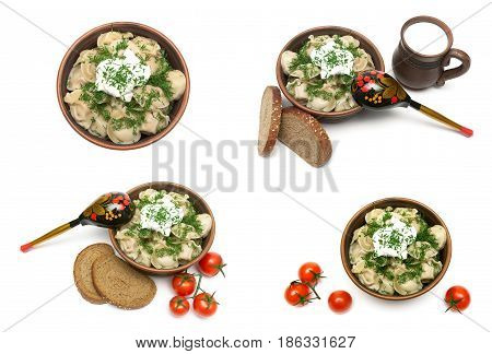 Russian cuisine: dumplings with meat in a plate on a white background. Horizontal photo.