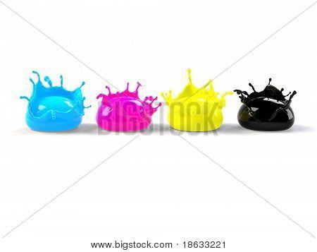 cmyk paint drops