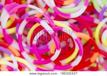 Colorful multicolored of elastic rubber pile background