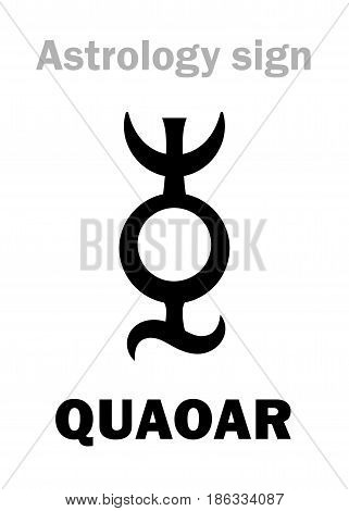 Astrology Alphabet: QUAOAR, Large massive trans-neptunian planetoid (TNO). Hieroglyphics character sign (single symbol).