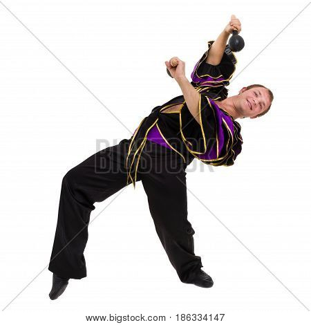 one caucasian man samba dancer dancing isolated on white background in full length