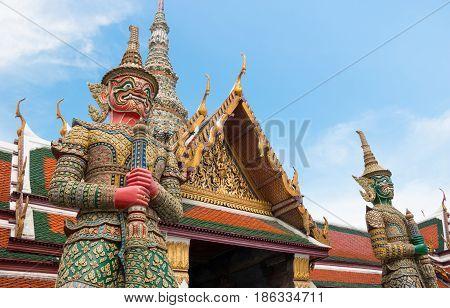 Demon Guardian In Wat Phra Kaew Grand Palace Bangkok.