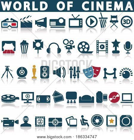 Cinema, film and movie icons. Vector icon set