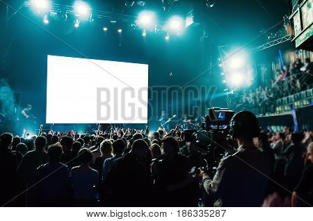 Rock concert, white screen isolated. clipping path