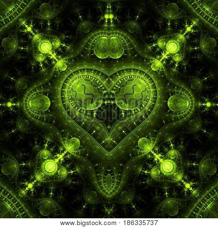 Abstract Ornamented Steampunk Heart. Fantasy Detailed Fractal Background In Bright Green Colors. Dig