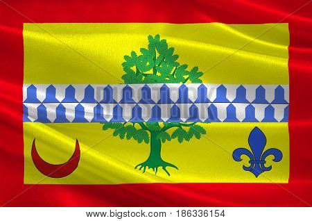 Flag of Le Raincy is a sub-prefecture of the Seine-Saint-Denis department and the seat of the Arrondissement of Le Raincy France. 3d illustration