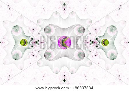 Abstract Futuristic Ornament In Green, Grey And Pink Colors. Fantasy Fractal Background. Digital Art