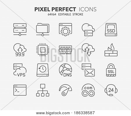 Thin line icons set of hosting and cloud computing networks concepts. Outline symbol collection. Editable vector stroke. 64x64 Pixel Perfect.