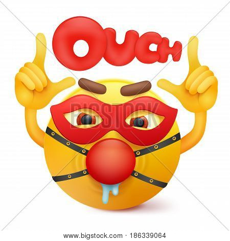 Yellow emoticon cartoon character in bdsm mask. Vector illustration