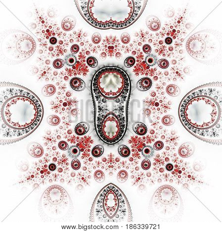 Abstract Ornamented Mechanism. Fantasy Detailed Fractal Steampunk Background In Red And Grey Colors.
