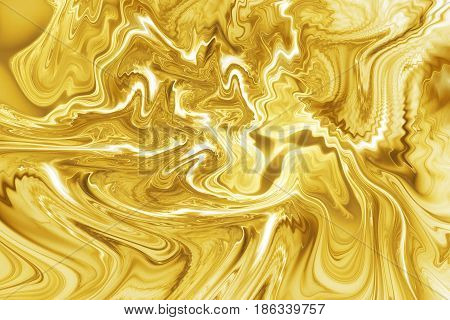 Abstract Golden Marble Texture. Fantasy Fractal Background In Yellow And White Colors. Digital Art.