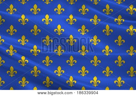 Flag of Saint-Denis is a subprefecture of the department of Seine-Saint-Denis being the seat of the arrondissement of Saint-Denis France. 3d illustration
