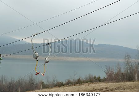 Cableway for skiing near Mavrovo lake in Macedonia