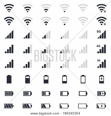 battery energy icon, wi-fi signal, mobile signal level icons set