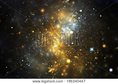 Bright Galaxy. Abstract Golden And Blue Sparkles On Black Background. Fantasy Fractal Texture. Digit