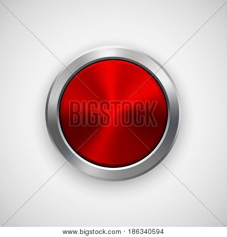Red technology circle badge, abstract geometric perforated button template with metal texture, chrome, silver, steel, bronze and realistic shadow for logo, design, web, apps. Vector illustration.