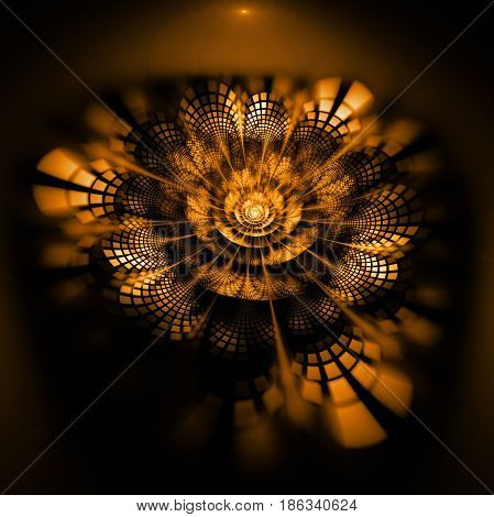Abstract Exotic Flower With Textured Petals On Black Background. Fantasy Fractal Design In Bright Or
