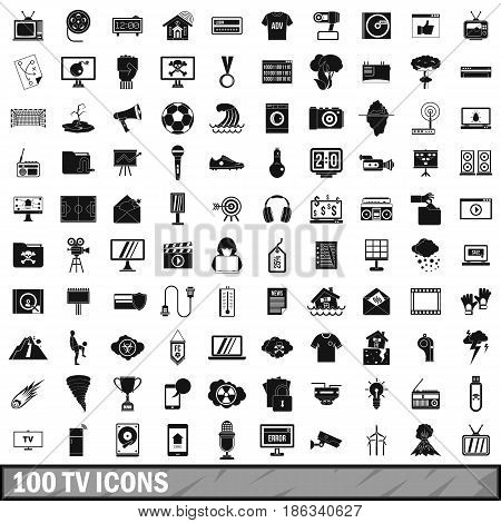 100 TV icons set in simple style for any design vector illustration