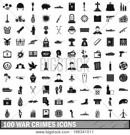100 war crimes icons set in simple style for any design vector illustration
