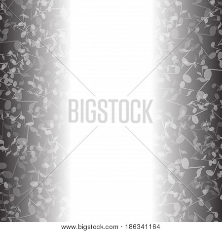 Grey Musical Notes Pattern on White Background
