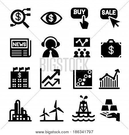 Stock market icon set. vector illustration graphic design