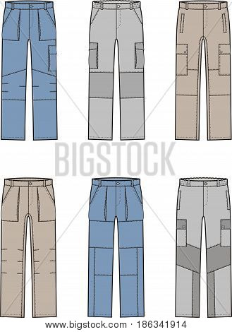 Vector illustration. Set of work pants. Different models