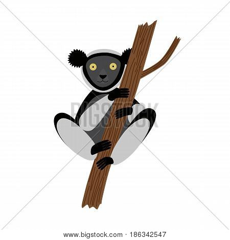 Indri in a tree. vector illustration for children