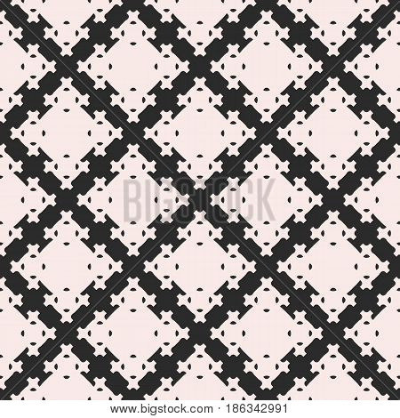 Vector seamless texture, abstract geometric pattern with square figures, crosses. Monochrome illustration of lattice, repeat tiles. Design element for tileable print, decor, cloth, textile, fabric