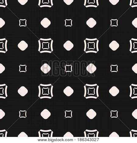 Vector seamless pattern, subtle geometric monochrome texture with simple figures, smooth outline squares, circles, staggered grid. Abstract dark repeat background. Design for tileable print, digital, web, textile, fabric, decoration