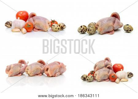 quail carcasses eggs and vegetables on a white background. horizontal photo.