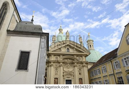 Mausoleum of the emperor Ferdinand II and cathedral domes in Graz the capital of federal state of Styria Austria.