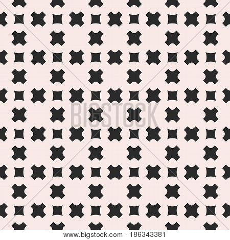 Vector seamless pattern, stylish monochrome geometric texture with smooth small crosses & squares, staggered grid. Abstract repeat background for tileable print, covers, textile, decor. Pastel colors