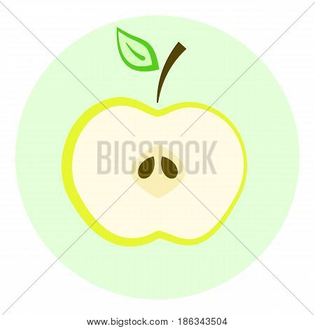 Half yellow apple vector icon apple split in a half cut fruit