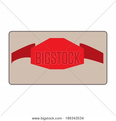 Banner red in rectangle. Emblem modern symbol of business. Set blank sticker labeling. Elegant form of the logo for sale. Colorful template for badge tag wrapping. Design element Vector illustration