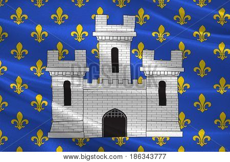 Flag of Melun is a commune in the Seine-et-Marne department in the Ile-de-France region in north-central France France. 3d illustration
