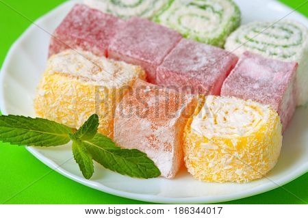 Colorful Turkish Delight Lokum.Sweet Turkish delight lokum traditional dessert.