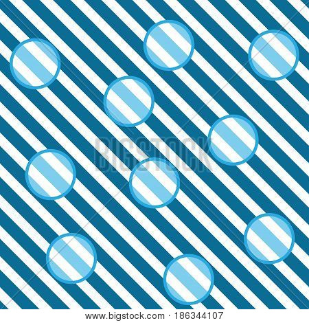 Circle on blue striped seamless pattern. Fashion graphic background design. Modern stylish abstract texture. Colorful template for prints textiles wrapping wallpaper website. Vector illustration