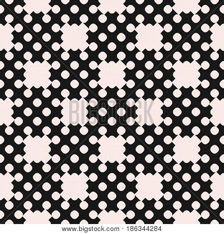 Vector dotted seamless pattern, repeat monochrome texture with simple geometric figures, circles, crosses, smooth shapes. Contrast abstract background. Design element for decor, prints, covers, fabric, textile, package