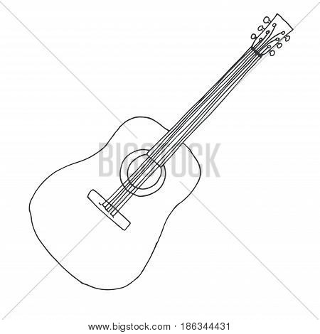 Sketch of a guitar. Vector illustration. Acoustic guitar isolated on white background.