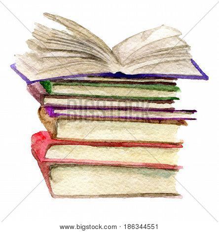 watercolor sketch of stack of books isolated on white background