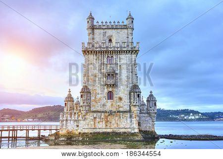 Belem Tower On A Summer Evening  In Lisbon, Portugal