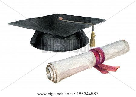 watercolor sketch of student cap and diploma isolated on white background