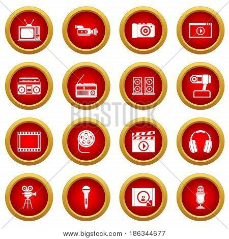 Audio and video icon red circle set isolated on white background
