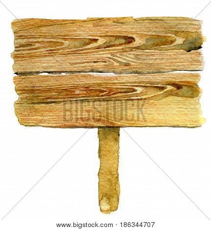 watercolor sketch of wooden plaque isolated on white background