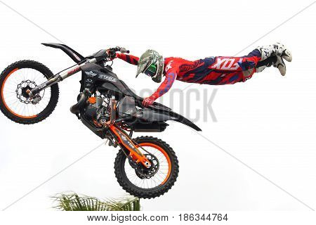 Genoa Italy - May 14 2017: Freestyle Motocross: The stunts of pilots participating in the world championship specialty at Genoa on the seafront.