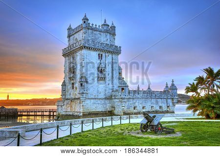 Beautiful Sunset View Over Belem Tower In Lisbon, Portugal